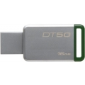 KINGSTON DATATRAVELER 50 16GB, USB 3.0, СРЕБРИСТ/ЗЕЛЕН